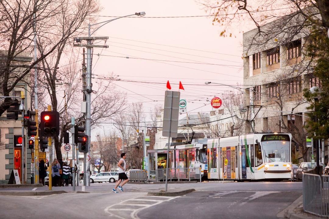 Street scene with tram