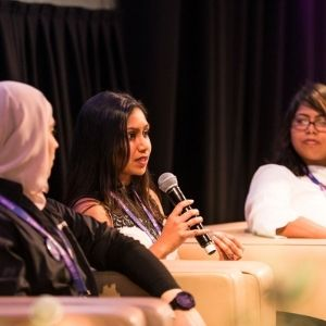Rav speaking about her experience dealing with illness at the Future Female Conference in Melbourne
