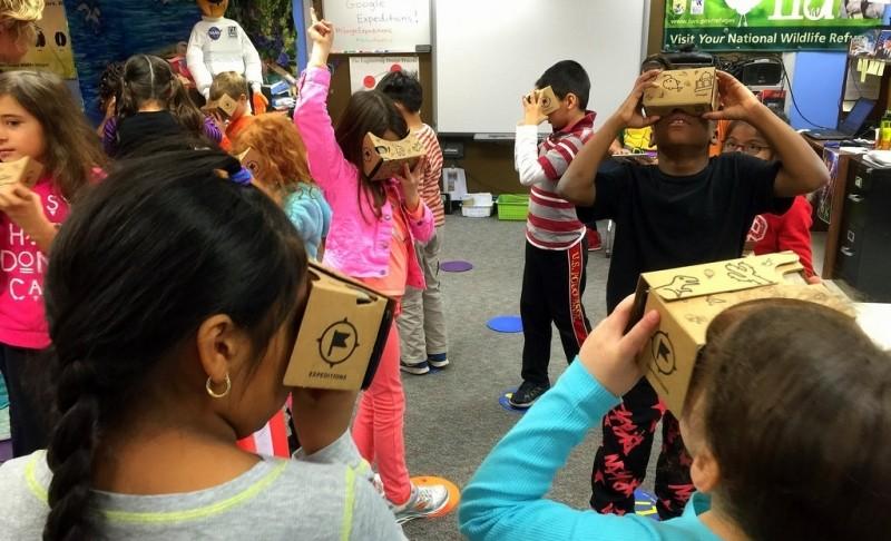 Students taking a virtual fieldtrip using Google cardboard