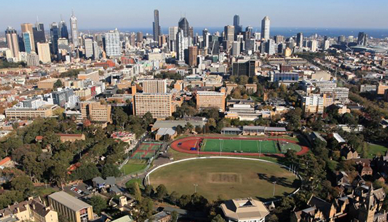 Aerial view of University of Melbourne campus