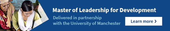 The Master of Leadership for Development. Delivered in partnership with the University of Manchester. Learn more.
