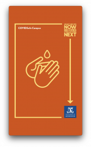 graphic showing droplet above hands