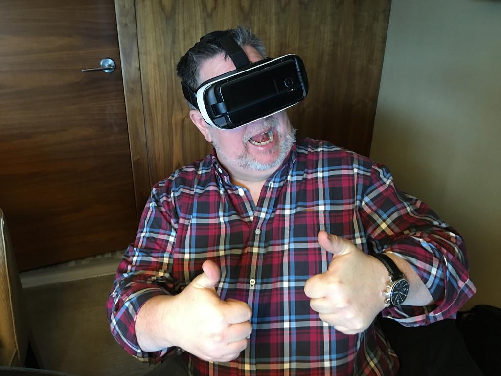 Older user enjoying a VR headset