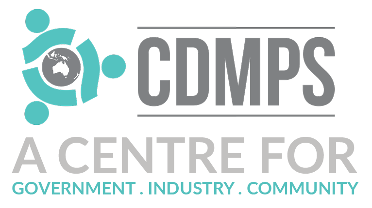 CDMPS logo. A Centre for government, industry, community
