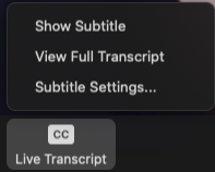 Live Transcript Button