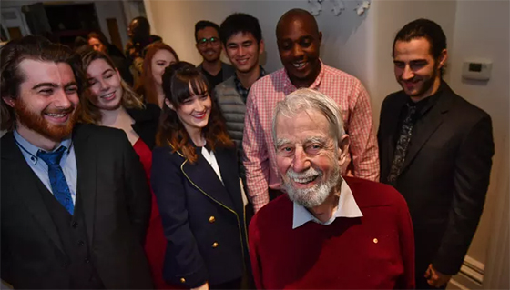 Roger Riordan AM with students at Medley Hall