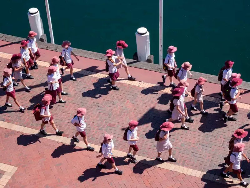 Students walking in a group photographed from above
