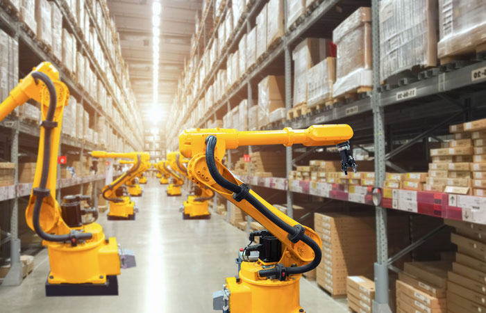 Stocking machines in a warehouse